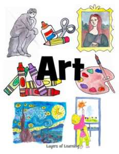 A printable art notebook cover for kids to slip in their binder, from Layers of Learning.