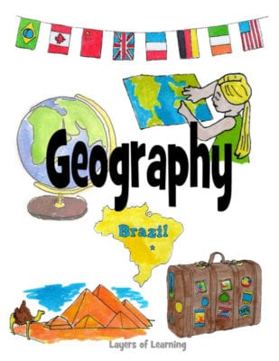 A printable geography notebook cover for kids to slip in their binder, from Layers of Learning.