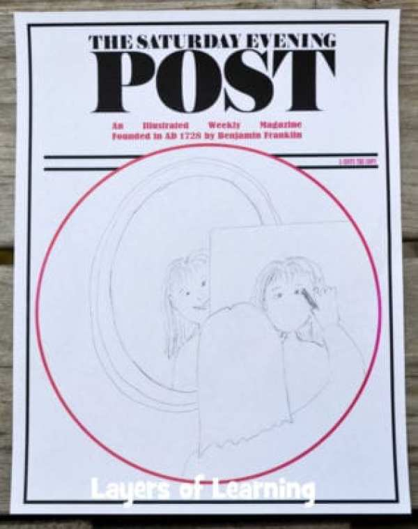 Norman Rockwell was a famous American painter.  Learn all about him, explore the art of photorealism, and make your own Saturday Evening Post cover using this free printable from Layers of Learning.