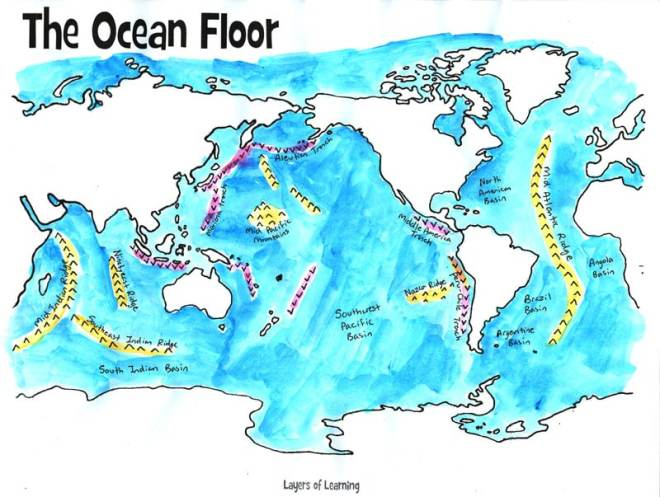 map of the ocean floor painted with watercolor