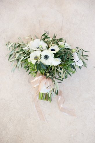 Olive branch and anemone bridal bouquet