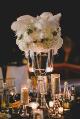 White centerpieces, black white and gold wedding, Las Vegas Wedding, Pearl and Feather Centerpiece, Westin Lake Las Vegas, Scheme Events, Layers of Lovely Floral Design, Adam Trujillo Photography, outdoor Las Vegas reception,