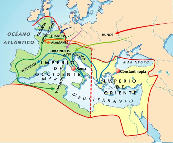 Resultado de imagen de imperio occidente y oriente