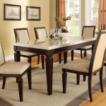 Acme Agatha 7pc White Marble Top Rectangular Dining Room Set In Layjao