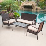 Shop Belleze 4 Pc Outdoor Patio Furniture Wicker Set Seat Cushion Layjao