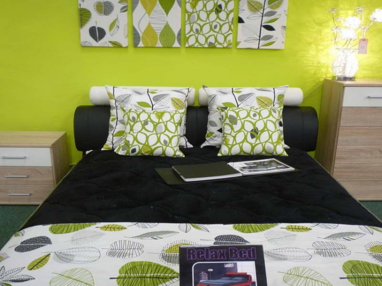 Wonderful Lime Green Bedroom Ideas With White Green Motif Framed On Layjao