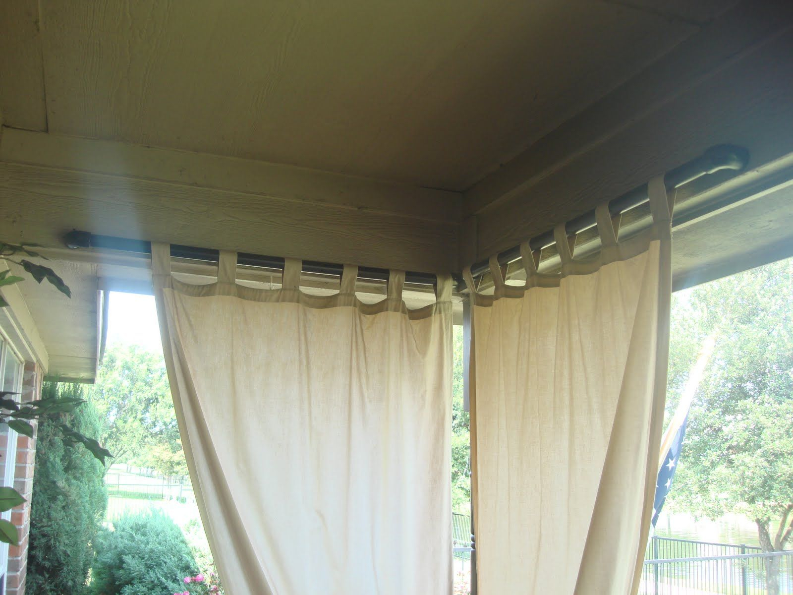outdoor curtain rod a slot was cut into