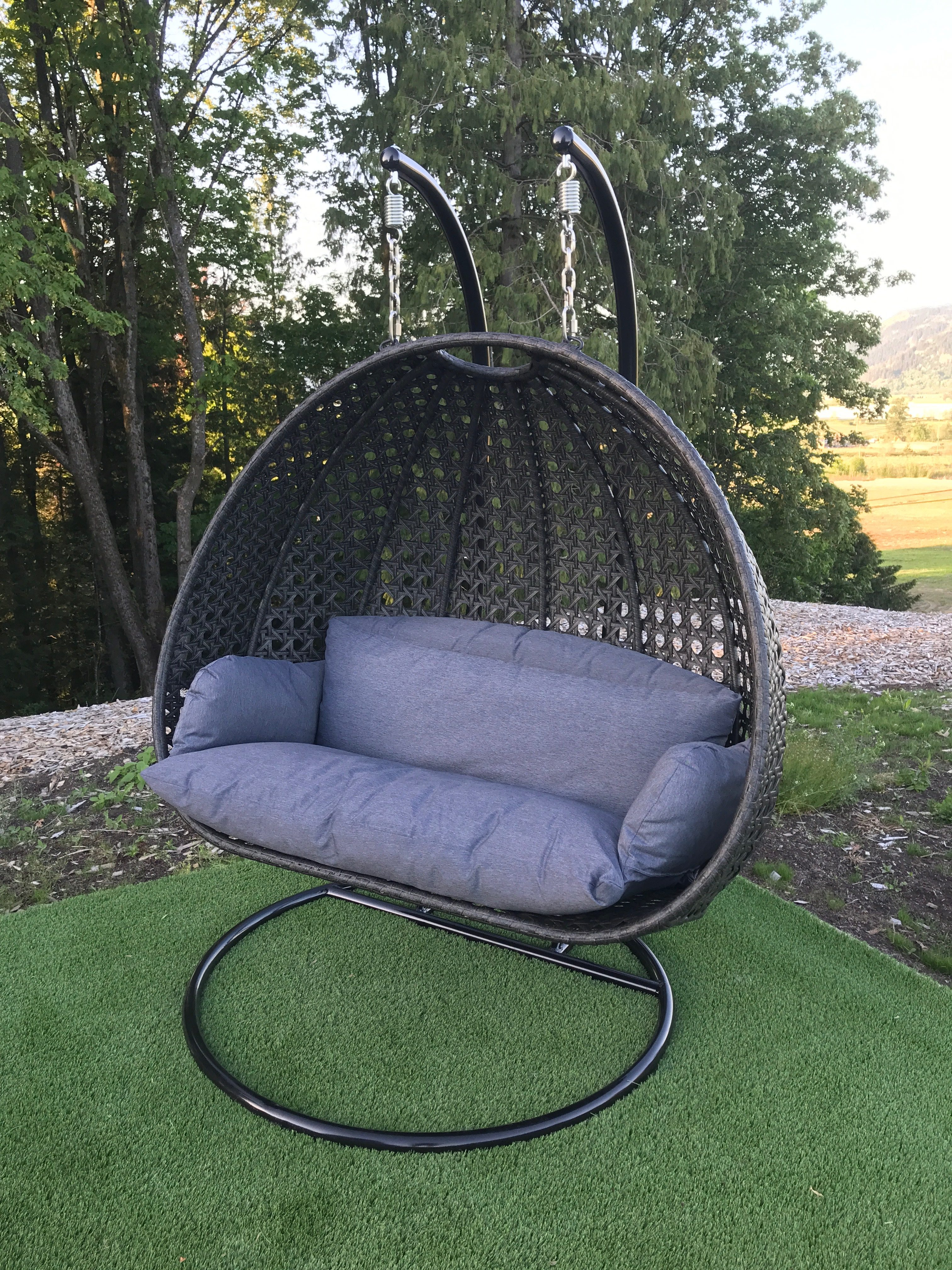 two seater double swing chair island