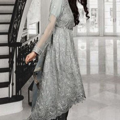 Chiffon Long Trail Fully Embroidered Dress LC-002