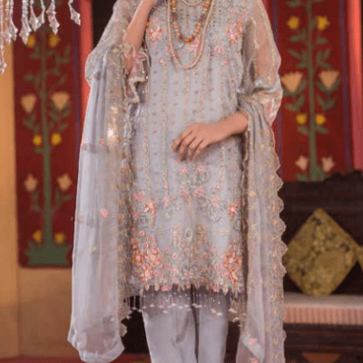 Embroidered & Hand Embalished Organza Suit Adans Libas CAL-7