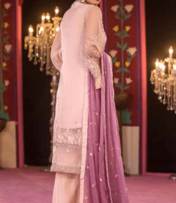 Embroidered & Hand Embalished Organza Suit Adans Libas CAL-12