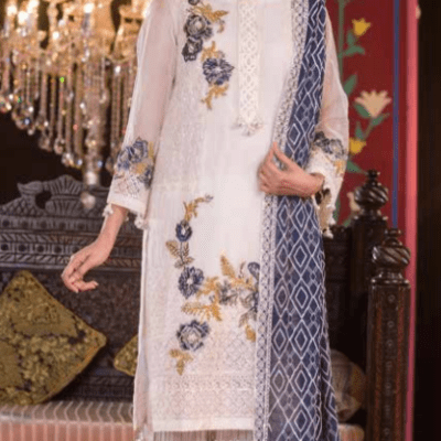 Embroidered & Hand Embalished Organza Suit Adans Libas CAL-13