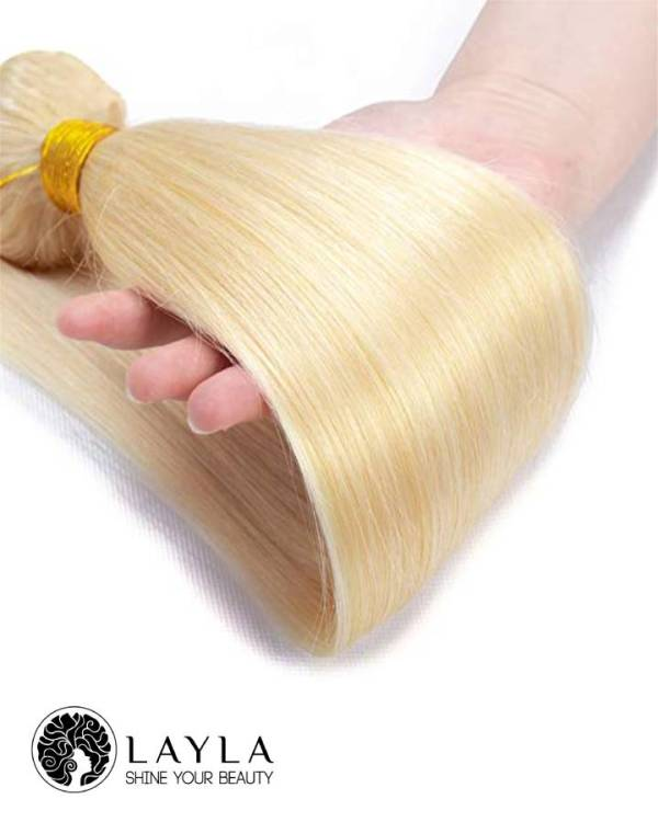 Cambodian Double drawn machine weft blond color hair extensions