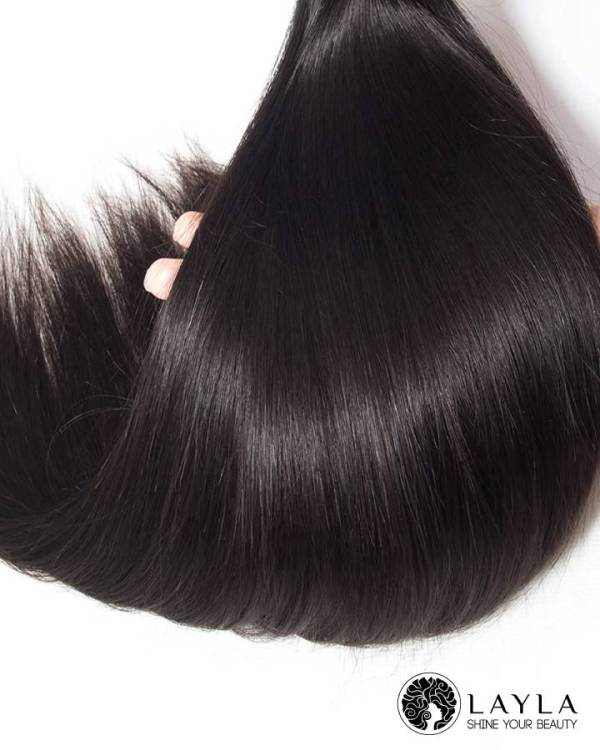 Cambodian machine weft straight hair extensions natural color