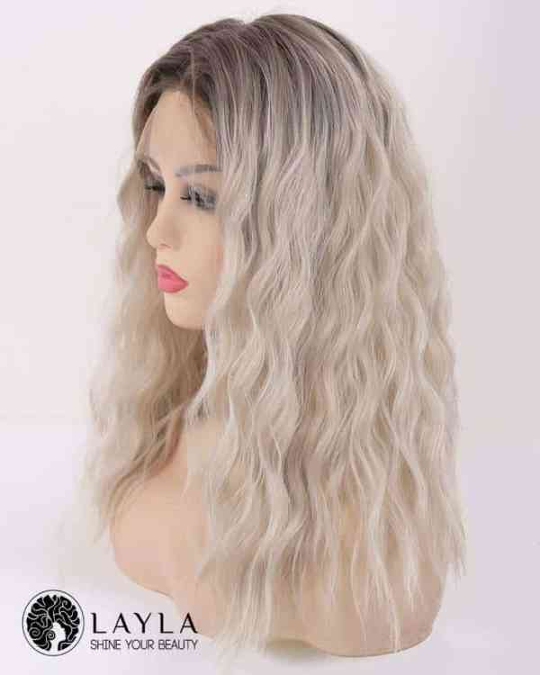 Black and Blonde Curly Lace Front Wig