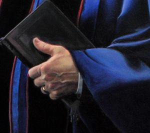 Image of a fine art oil portrait of Sr. Pastor Kevin Rudolph's bible by artist Layne Johnson