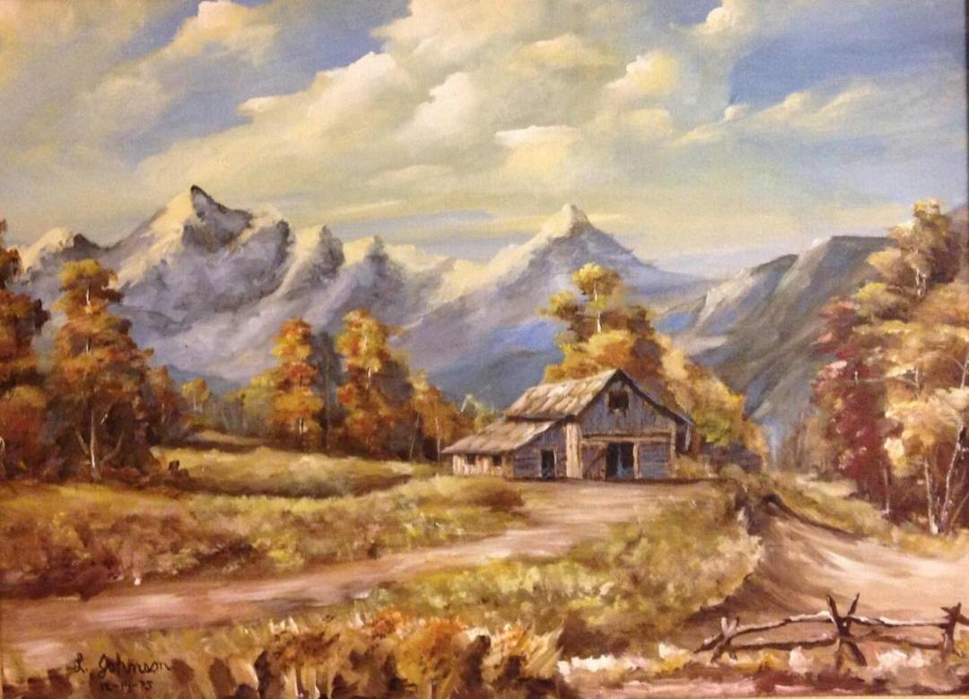 This is an early painting of a mountain with a barn.