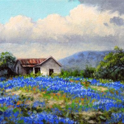 An old home place, near Fredericksburg - heart of the Texas Hill Country. I've been drawn to paint these types of scenes since I was a kid . . . a part of our past that's quickly fading. It brings back such memories of my own family's home places. Another one of my mini-paintings.