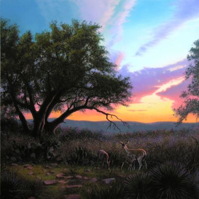 Texas Hill Country landscape painting - oil on panel
