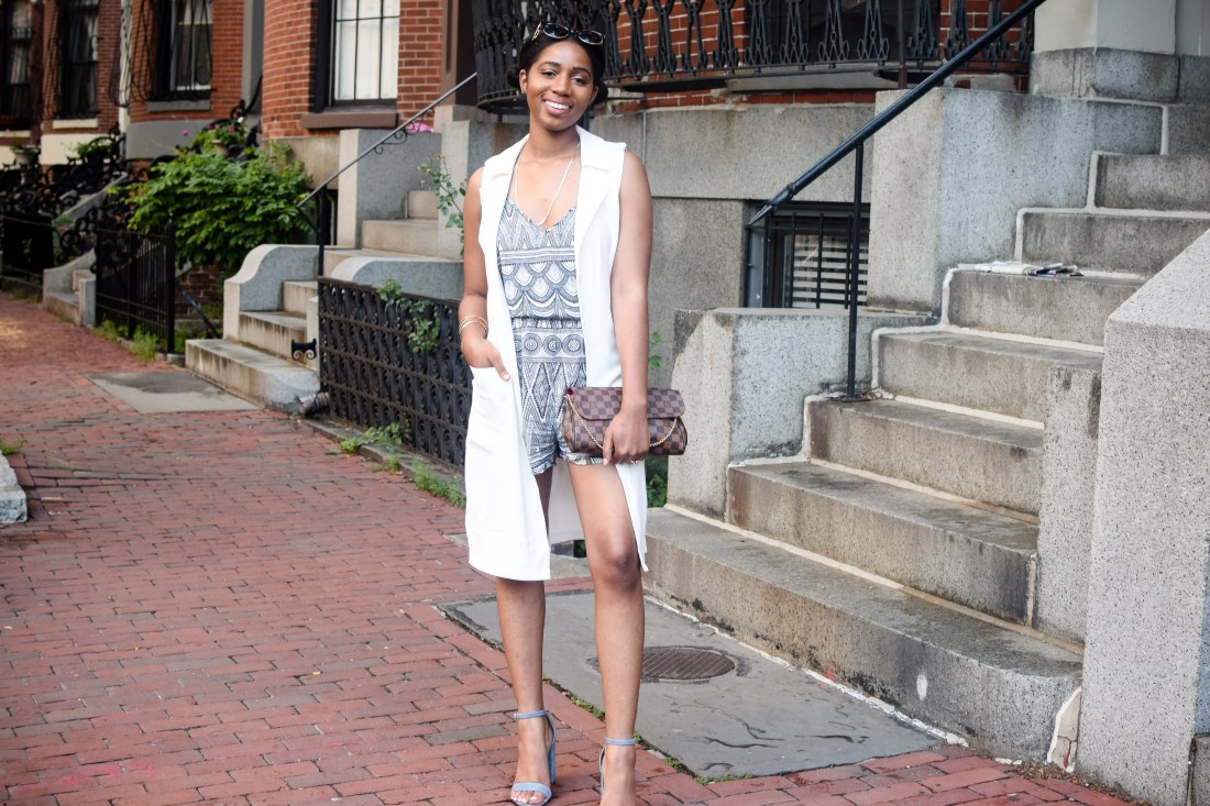 geometric jumpsuit, H&M, easy summer outfit, what to wear summer