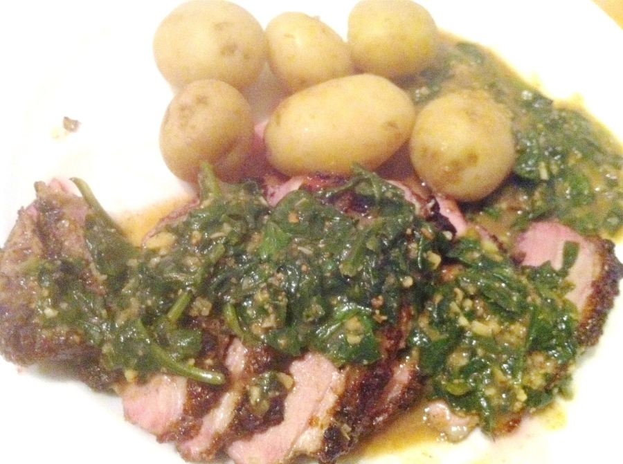 Balinese grilled duck breasts in a coconut and spinach sauce, Lay The Table