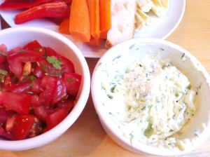 Olympic Dips (Cheese & Courgette; Zingy Tomato & Coriander; Avocado & Lime), Lay The Table