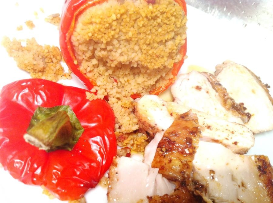 North African-Spiced Chicken with Moroccan Cous Cous-Stuffed Peppers, Lay The Table