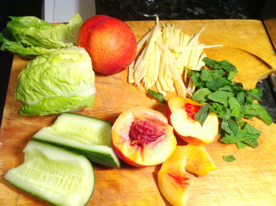 Steam-Poached Ginger Chicken with Baby Gem, Nectarine and Mint Salad, Lay The Table