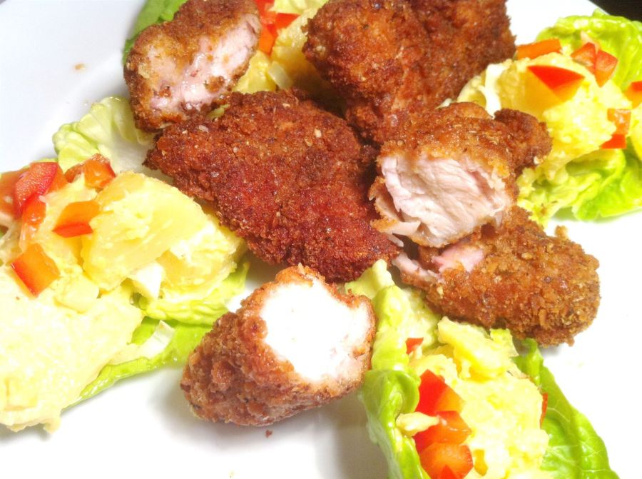 Hot & Spicy Chicken Nuggets with American Mustard Potato Salad, Lay The Table