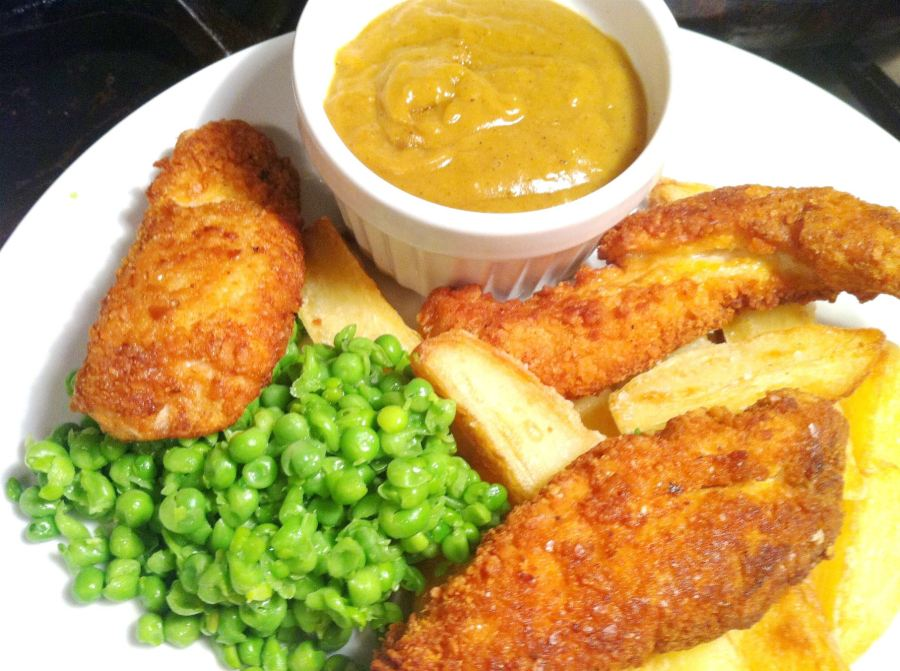 Posh Chicken, Chips, Mushy Peas and Chip Shop-Style Curry Sauce, Lay The Table