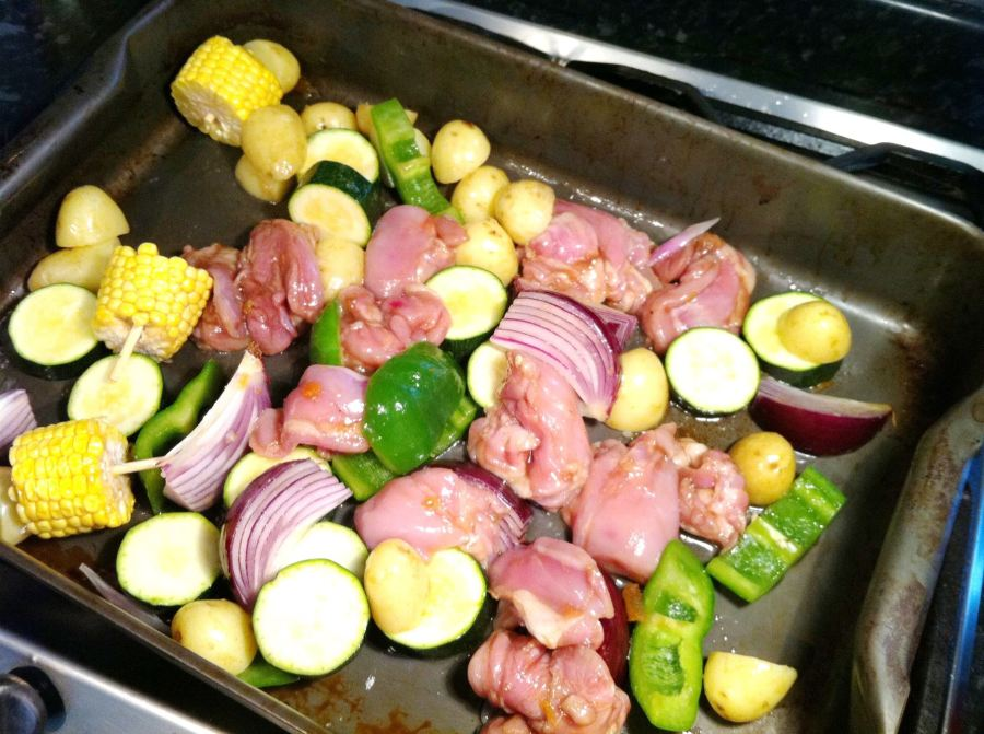 Open Farm Sundays Chicken & Summer Vegetable Traybake with Apricot Jam and Balsamic Vinegar, Lay The Table