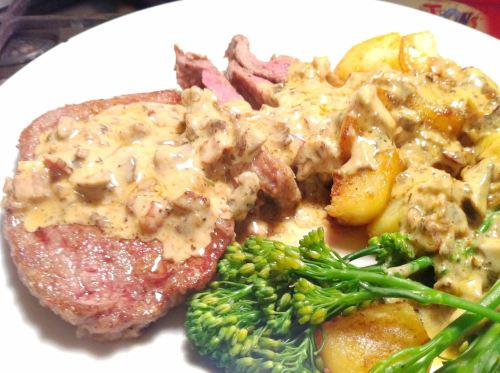 Rose Veal Escalopes with Creamy Bacon-Mushroom Sauce, Lay The Table