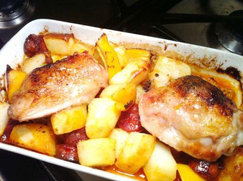 Spanish Chicken, Chorizo, Lemon and Potato Bake with Umami Dust, Lay The Table