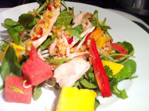 Roast Chicken, Beansprouts, Mango and Watermelon Salad with Wagamama Salad Dressing, Lay The Table