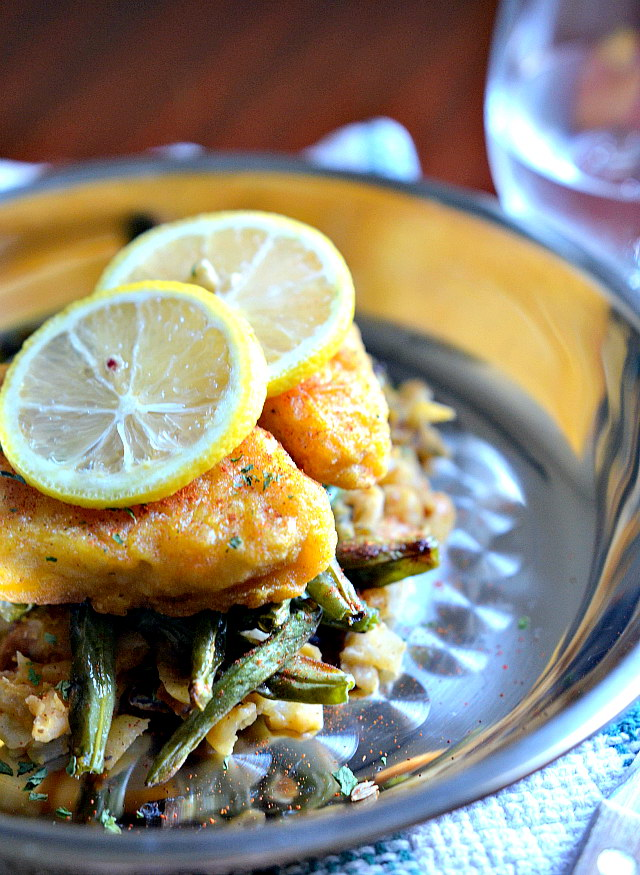 Fishless Filets w/ Herbed White Beans and Vegan Bacon, Lay The Table