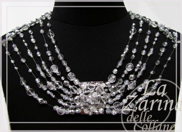 perle argento, cristalli argento, cristalli bianchi, bianco argento, collana argento, collana nylon,