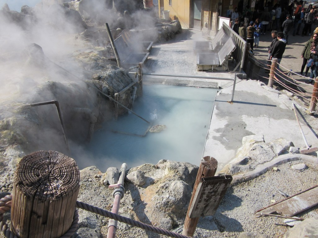 Volcanic sulfur gas vents and hot springs at Owakudani