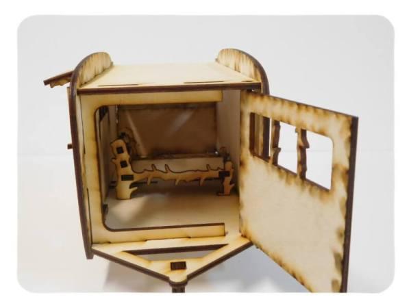 Wood Model Fairy Garden Trailer Kit By-LazerModels