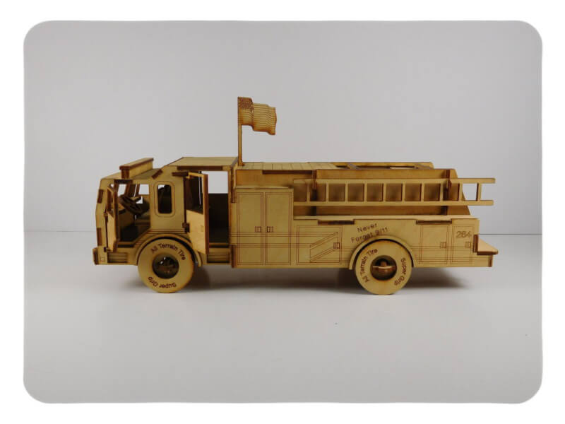 Wood Model Fire Truck Kit By-LazerModels