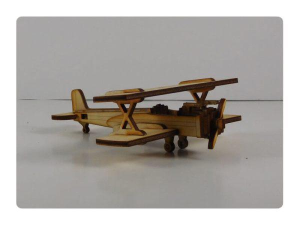 Wood Model Mini Biplane Puzzle Kit By-LazerModels