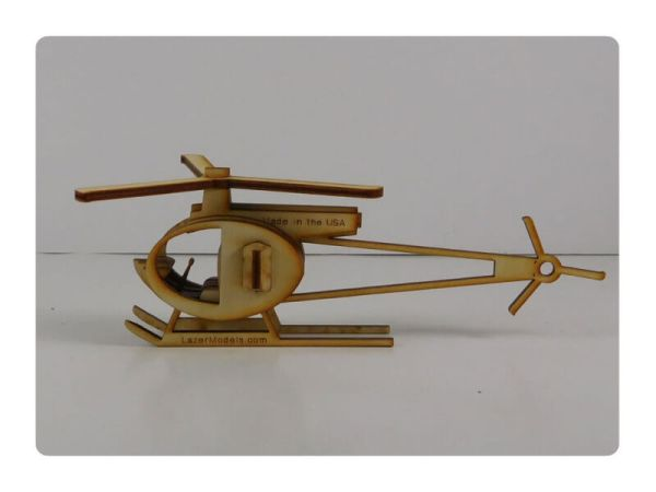 Wood Model Mini Helicopter Puzzle Kit By-LazerModels