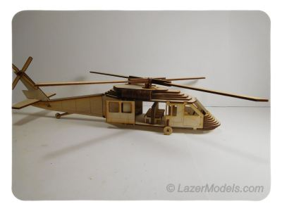 Wood Model HU-60 Blackhawk Helicopter Kit By-LazerModels