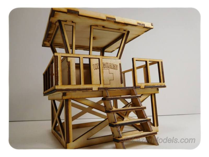 Wood Model Lifeguard Tower Kit By-LazerModels