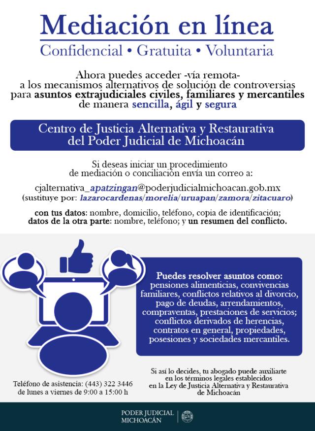 """Poder Judicial de Michoacán apertura el servicio de """"Mediación en línea"""" para la solución de controversias a distancia"""