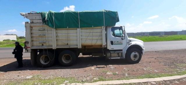 Asegura SSP a dos en posesión de vehículos cargados con fertilizante robado