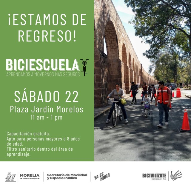 Gobierno de Morelia y Bicivilízate reanudarán Biciescuela gratuita con protocolo sanitario