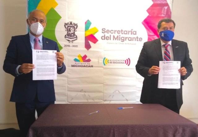 Firman Semigrante y Cobaem comodato para apoyar a connacionales y sus familias
