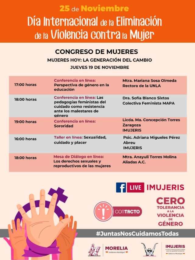 Del 17 al 19 de noviembre Gobierno de Morelia realizará el Congreso de Mujeres