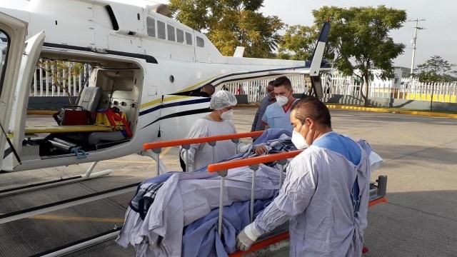 Realiza CRUM traslado aéreo de un menor de La Piedad a Morelia por quemaduras de pirotecnia