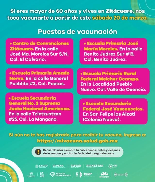 Inicia este sábado vacunación contra COVID-19 en Zitácuaro